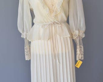 1980s does 20s Vintage 2 Piece Wedding Dress in Ivory - Deadstock
