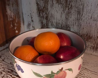 Enamel fruit bowl / white