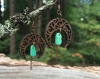 Wooden Earrings - Turquoise MoonDance
