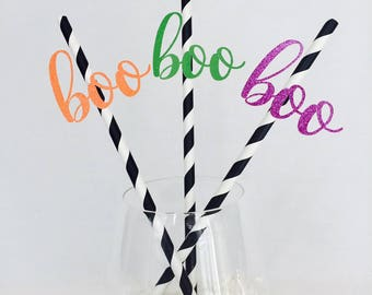 12 Boo Halloween Striped Straws - Halloween Party - Happy Halloween - Ghost - Pumpking - Glitter - Scary Party Decorations