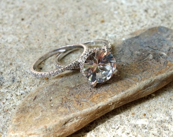Unique engagement ring rose Gold white Topaz Engagement Ring Diamonds Wedding Ring Set Bridal engagement ring promise ring rose gold Unique
