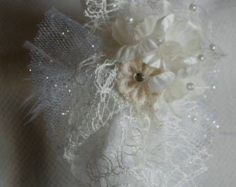 white wedding headband with white feathers and lace, wedding dress or bridesmaid