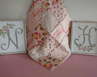 "Baby Lovey 24""x24"" Reversible/Security Blanket/Rag Quilt/Riley Blake Vintage Daydream Pink/Handmade"