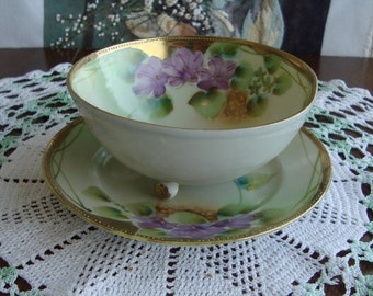 Antique Hand Painted 3- Footed Bowl and Underplate  - Purple, Green and Gold Floral with Heavy Gold Trim - Possibly Early Nippon