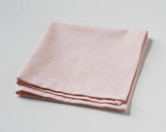 Light Dusty Blush Linen Pocket Square