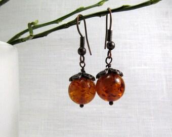 "Baltic Amber Earrings 1.38"" Baltic Amber Jewelry Dangle Cognac"