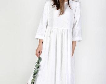 Washed linen dress, Linen dress, Summer dress, Day dress, Long linen dress with pockets, Loose Dress, Loose fitting linen dress