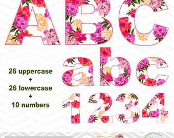 Digital Flower Alphabet Clipart, Floral Alphabet Clip Art, Flower Number Clipart, Flower Letters Clip Art, Digital Floral Alpha Clipart 0029