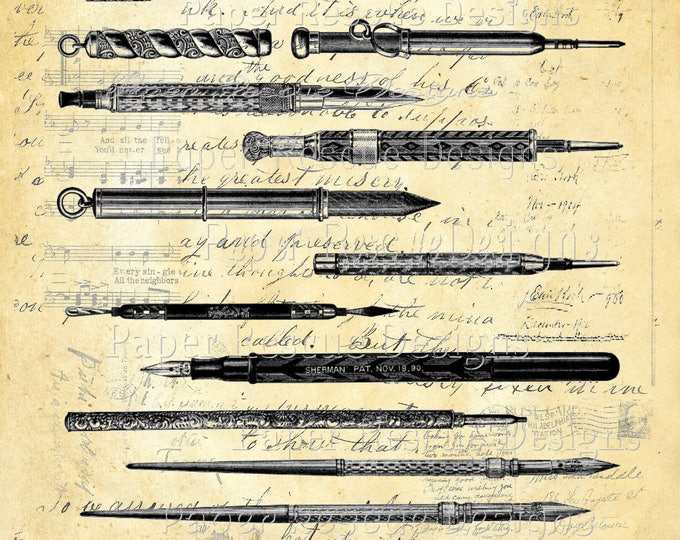 Antique Pen Pencil Study art print custom choice background antique vintage page beautiful paper gift decor  PEN1432