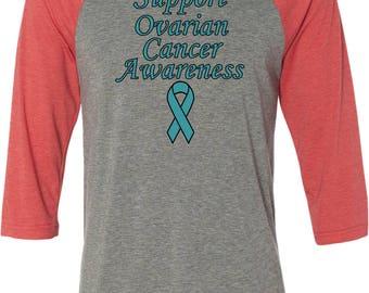 Men's Support Ovarian Cancer Awareness Raglan Shirt SOCA-3200
