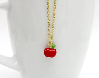 Apple Necklace, Tiny Apple Necklace, Gold Plated Enamel Apple Necklace, Apple Jewelry, Fruit Necklace, Fruit Jewelry, Food Necklace