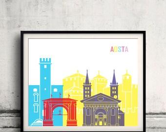 Aosta skyline pop - Fine Art Print Glicee Poster Gift Illustration Pop Art Colorful Landmarks - SKU 2366