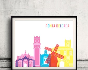Ponta Delgada skyline pop - Fine Art Print Glicee Poster Gift Illustration Pop Art Colorful Landmarks - SKU 2525