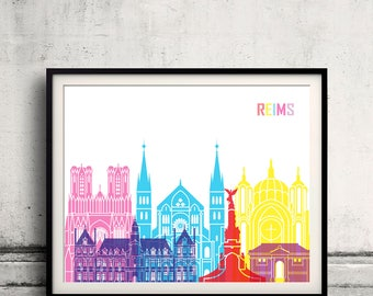 Reims skyline pop - Fine Art Print Glicee Poster Gift Illustration Pop Art Colorful Landmarks - SKU 2533
