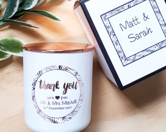 Thank you custom soy candle - Bridesmaid gift - MOH gift - Personalised wedding candle - Thank you gift