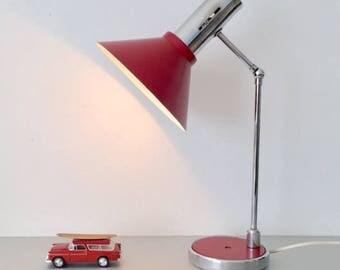 vintage desk table lamp Anvia JJ hoogervorst Raak Hala Dijkstra Gepo Dutch design red seventies
