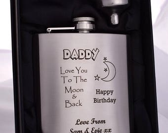 Laser Engraved/Personalised *NEW* MOON & BACK Hip Flask in Silk Gift Box For Christmas/Birthday