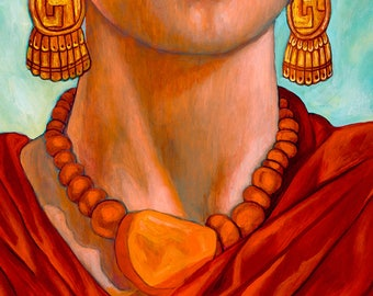 Frida entre Alcatraces (Detail) - Giclee on Canvas Mounted on Wooden Block