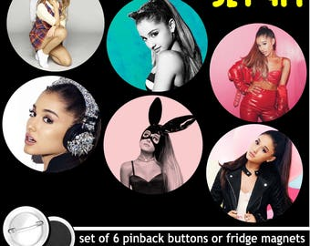 Ariana Grande Set of 6 Pinback Buttons or Fridge Magnets pins badges dangerous woman world tour 1171