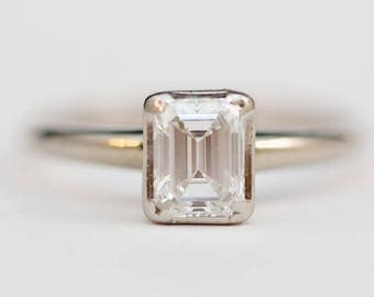 Vintage 14k White Gold, Emerald Cut Diamond Engagement Ring Size 7.25