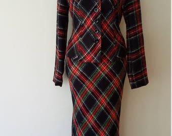 Plaid suit, XS, S, plaid maxi skirt, vintage suit, plaid blazer, plaid jacket, wool jacket, wool skirt, fall skirt, fall jacket