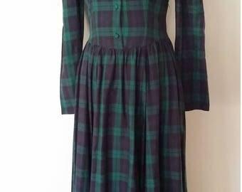 Laura Ashley dress, S, plaid dress, flannel dress, 70's dress, 80's dress, holiday dress, green dress, prairie dress