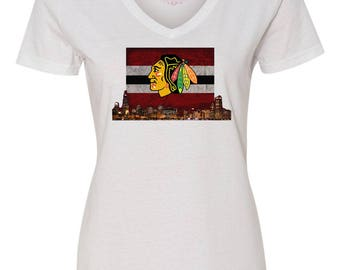 Blackhawks T-shirt, Ladies Blackhawks shirt, Chicago Blackhawks V-neck t-shirt, Blackhawks Downtown