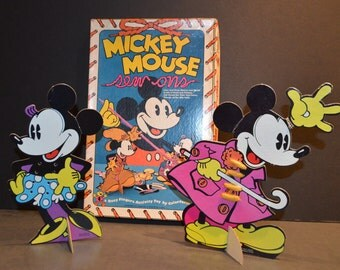 1970's Walt Disney Mickey Mouse Colorforms Sew Ons-A