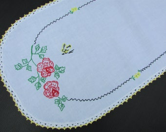 """1960's Embroidered Red Roses Table Runner, Crochet edge/ Hand Embroidered yellow butterfly on white dresser scarf/ 13"""" x 35 1/4"""""""