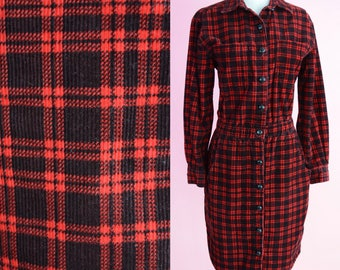 Vintage Grunge, Red Plaid Shirtdress // Lumberjack, 1990s, Courderoy, Tartan Pattern, Women Size Small