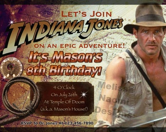 Indiana Jones Party Invitation, Raiders of the Lost Ark, Harrison Ford as Indiana Jones, Personalized Party Invitation, DIGITAL FILE, Art