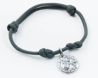 Mountain Bracelet, Adjustable Bracelet, Mountain Climber, Paracord Bracelet, Mountain Scene, Mountain Charm, Nature Gifts, Mountain Jewelry