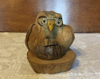 Vintage Souvenir Carved Coconut Eagle Bird with Glasses Coin Bank