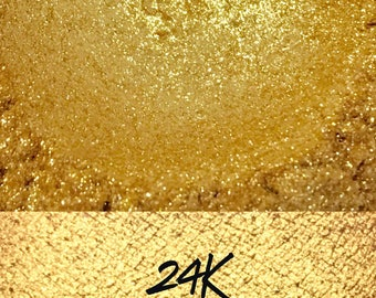 24K, Gold Glitter Loose Pigment 10 gram jar, Mineral Eye shadow Pigment