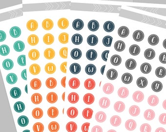 Circle Initials/Monograms Alphabet for Printable Behavior Chart, DIY kids magnet clip chart - Coordinating colors, 2 sizes INSTANT DOWNLOAD