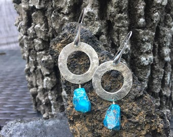 Turquoise Earrings December Birthstone  Large Sterling Silver Earrings Dangle Silver Earrings Silver Circle Earrings Handmade Bohemian