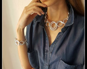SILVER plated jewellery NECKLACE-jewelry-aluminum-ALUMINUM contemporary jewelry-contemporary necklace-made in Italy