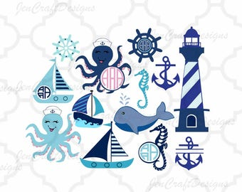 Nautical SVG, Ocean SVG files, Octopus SVg, Sailboat, Whale, Anchor SVG Bundle, Svg, Eps, Dxf, Printable Png Cricut, Silhouette Cut Files