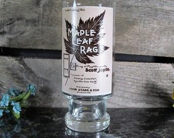 Drinking Glass with Sheet Music, or Piano Script, Maple Leaf Rag, by Scott Joplin, Rag Time Waltz, Home, Office, or Farmhouse Glassware