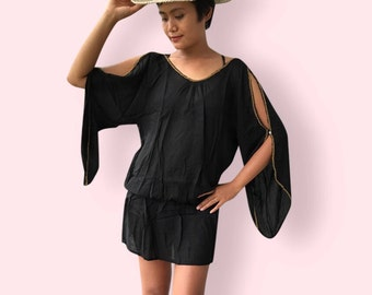 Black beaded beach dress, BW09 black, beach dress,  holiday, maternity wear, lounge wear, poolside party wear, party dress, fun dress