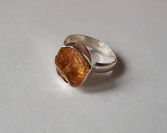 Raw, rough citrine ring set in 92.5 sterling silver, size 7.25, resizing available