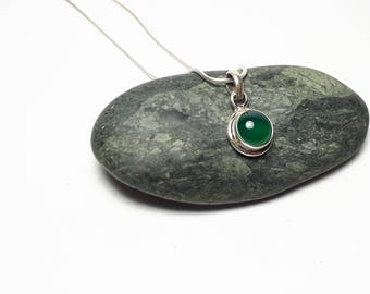 Delicate green onyx pendant; genuine 92.5 sterling silver; free shipping