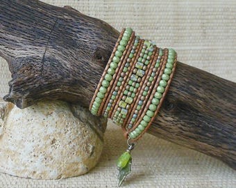 Beaded Leather Wrap Bracelet: Lime Mix/Pantone Greenery/5 Wrap Bracelet/Gift for Her/3rd Anniversary/Green Wrap Bracelet/Boho Bracelet/OOAK