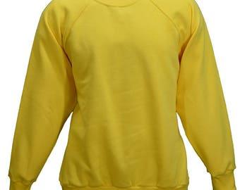 Men's yellow sweatshirt.   Individually made in England.  W10