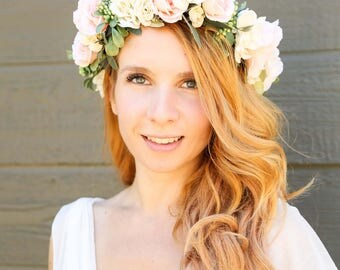 More colors! Ivory and Peach flower crown, Flower headband, wedding flower crown, bridal flower crown, bohemian flower crown, floral crown