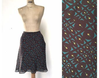 Cacharel 1990 s Chocolate and Mint ruffled skirt French Designer Vintage