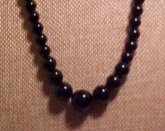 Natural Black Agate Necklace. Beads are 6 to 14MM. Shows up well. FREE shipping in the United States.