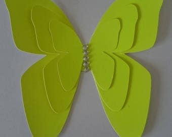 Bright neon yellow butterfly embellishment/card topper with silver gem.