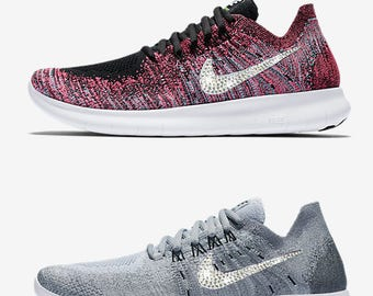 New blinged nikes Nike free RN Flyknit 2017 blinged out with Swarovski crystals multiple color options
