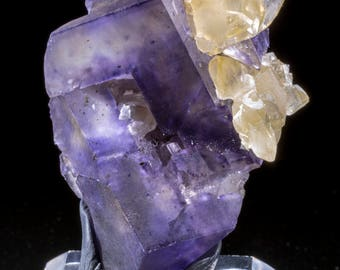 Stepped Fluorite Corners with Calcite Mineral Specimen from Denton Mine, Cave-in-Rock, Illinois
